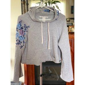 Floral Sleeve Grey Crop Top Sweater
